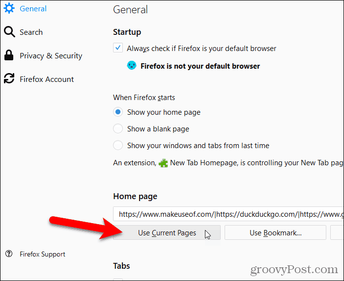 Click Use Current Page in Firefox