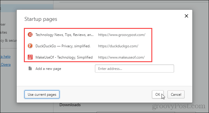 Close Startup pages dialog box in Opera