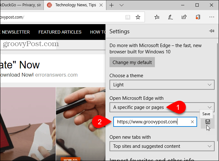 Save a URL for Open Microsoft Edge with option