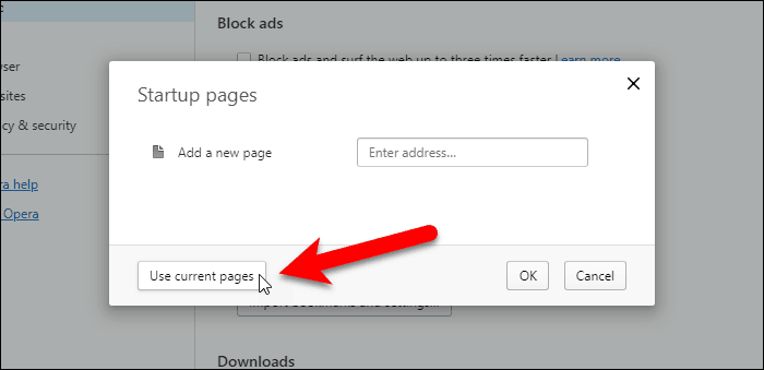 Click Use Current Pages in Opera