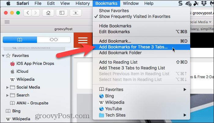 Select Add Bookmarks for These Tabs in Safari on Mac