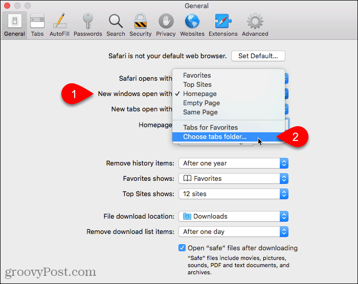 Select Choose tabs folder for New windows open with setting in Safari on Mac