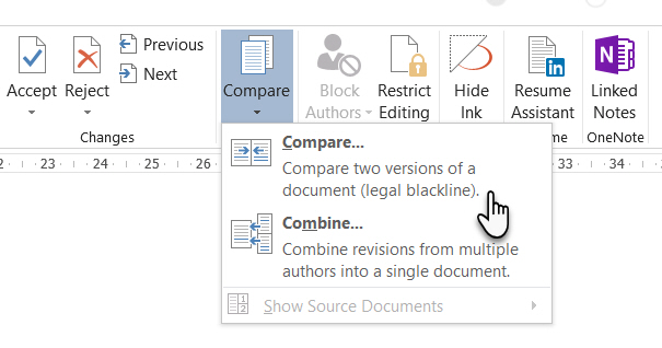 Microsoft Word Compare Two Documents