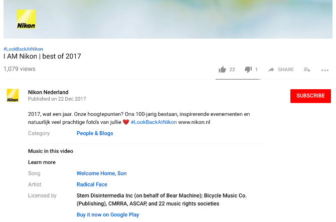 youtube music description