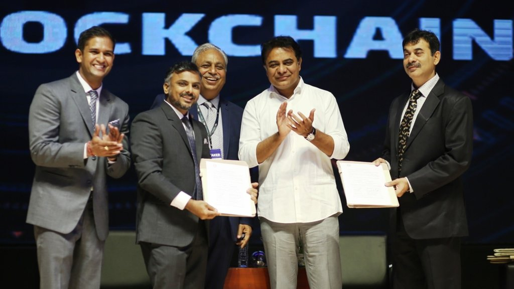 Left to right: Abhishek Pitti, CEO of Nucleus Vision, Rama Iyer, India CEO of Eleven01, CP Gurnani, CEO & MD of Tech Mahindra, KT Rama Rao, Minister for IT and Jayesh Ranjan, Prinicipal Secretary in the IT Dept, GoI.