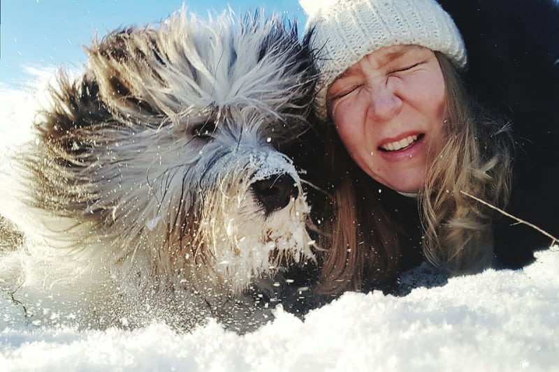 A woman in the snow with a dog
