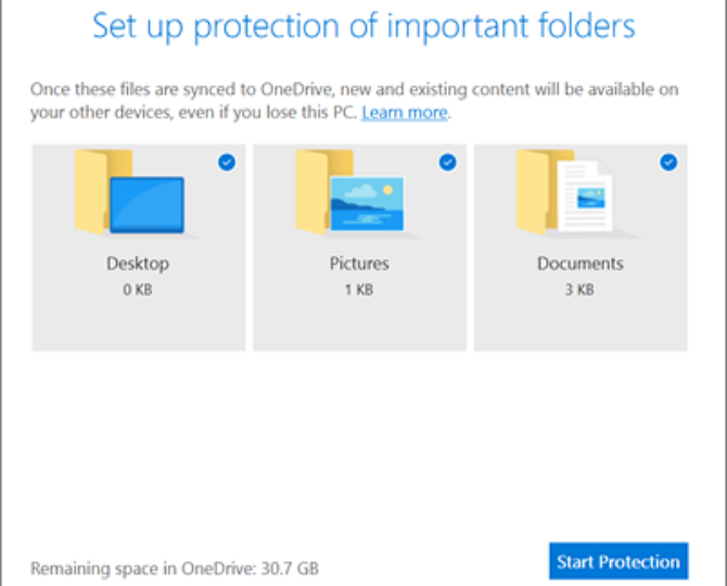 Microsoft OneDrive Folder Protection