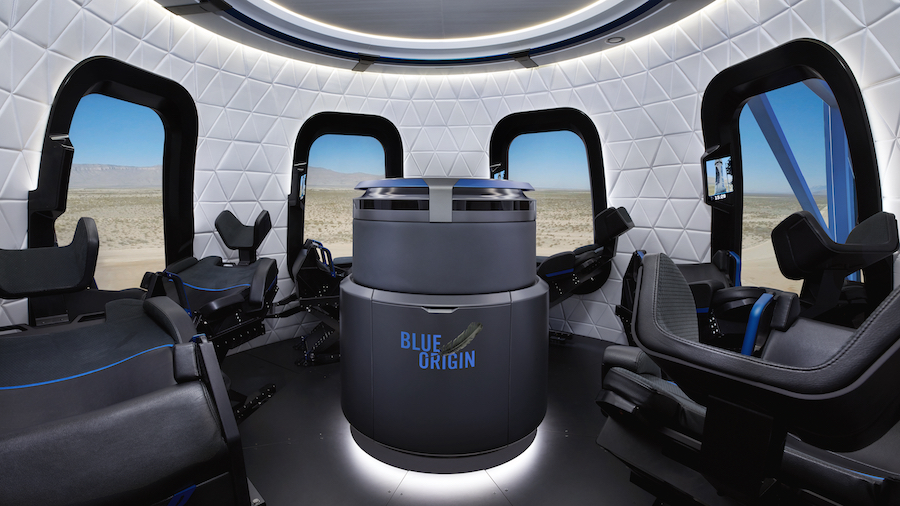 Image of interior of Blue Origin's New Shepard capsule