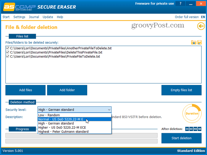 Secure Eraser secure deletion tool for Windows