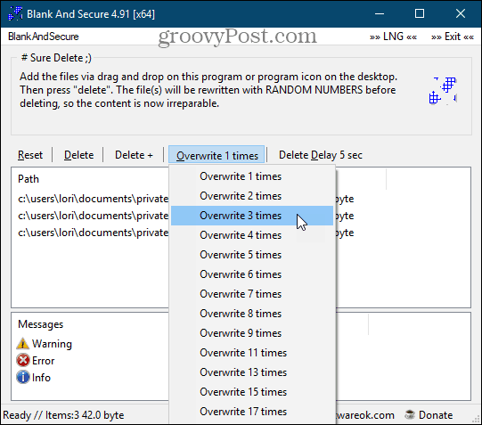 Blank And Secure secure deletion tool for Windows