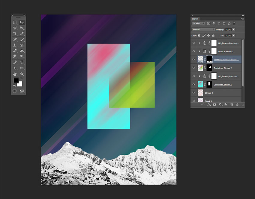 Add a brightnesscontrast and a black white adjustment layer Create a clipping mask to affect only the mountains image