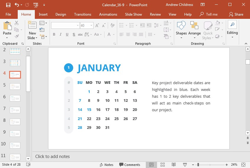 How To Quickly Insert A Calendar In Powerpoint With Templates How