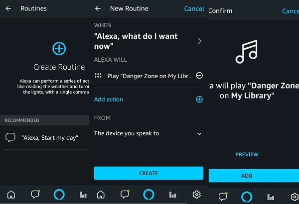 Creation of routines in Alexa