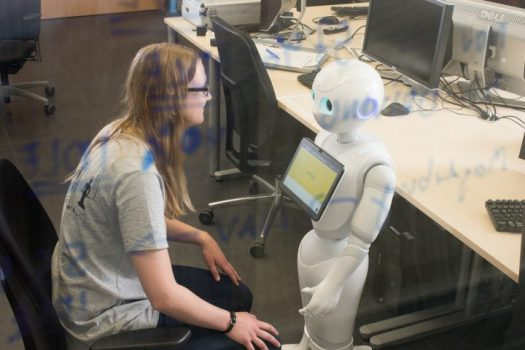 In the VIVA project, researchers at the Cluster of Excellence CITEC will first be working with the social robot Pepper. They aim to develop their own robot over the course of the project. Photo: Friso Gentsch/CITEC