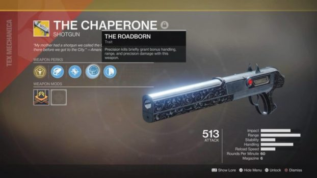 destiny 2 forsaken the chaperone the roadborn exotic perk shotgun