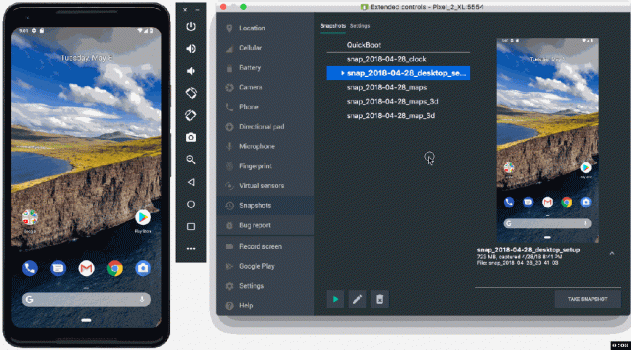 An animation showing Android Studio's Emulator Snapshots feature