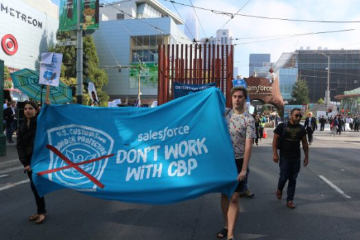 Protesters call on Salesforce to end contract with border patrol agency | Artificial intelligence