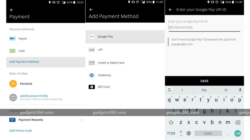uber google pay integration Uber