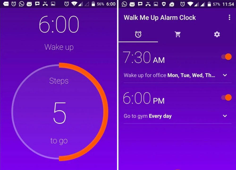 Walk Me Up Alarm Clock (Free, iOS or Android / $1.99 Pro version on Android)