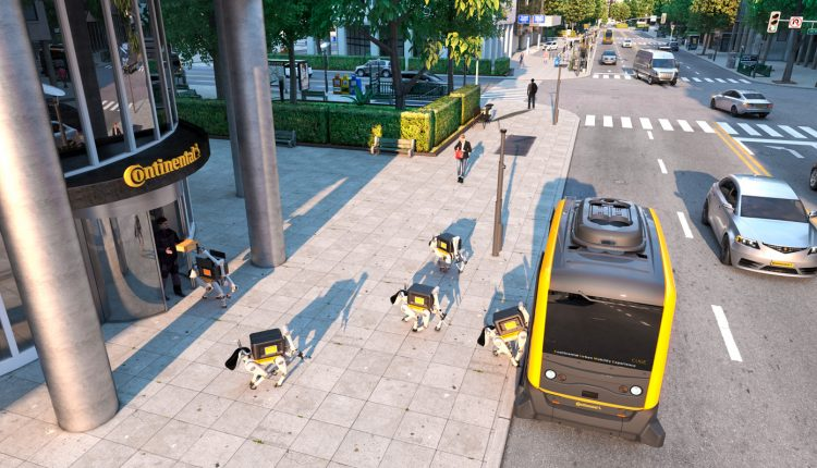 Robot delivery dogs deployed by self-driving cars