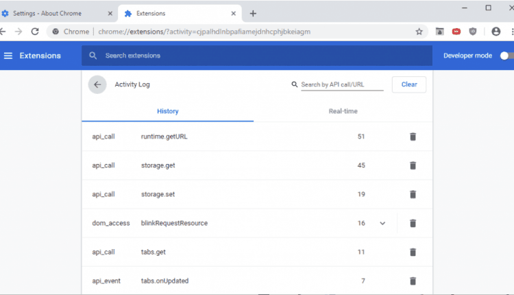 Google Chrome Activity Log for extensions