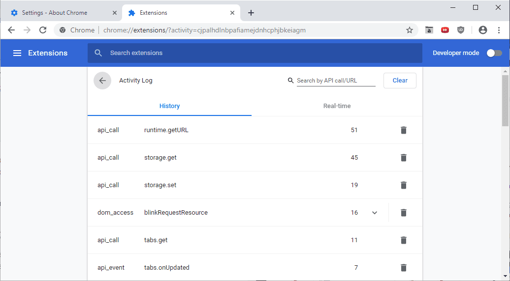 chrome activity log extensions