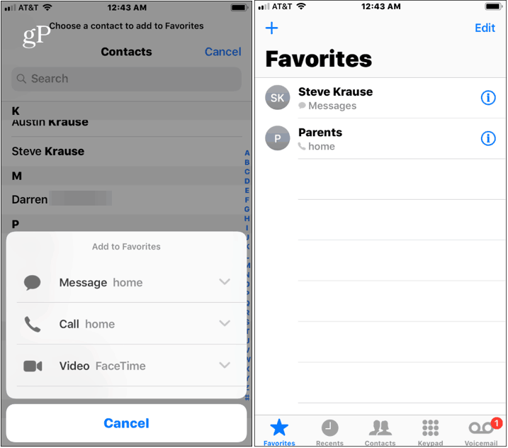iPhone Contacts in Favorites