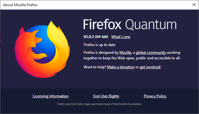 Mozilla firefox 65.0.2 fixes a Geolocation issue