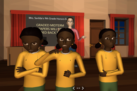 Virtual reality game simulates experiences with race