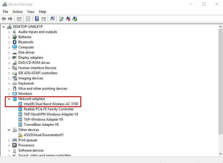 Reinstall the Network adapter drivers