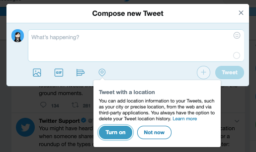 Twitter's location tagging feature for tweets on its website