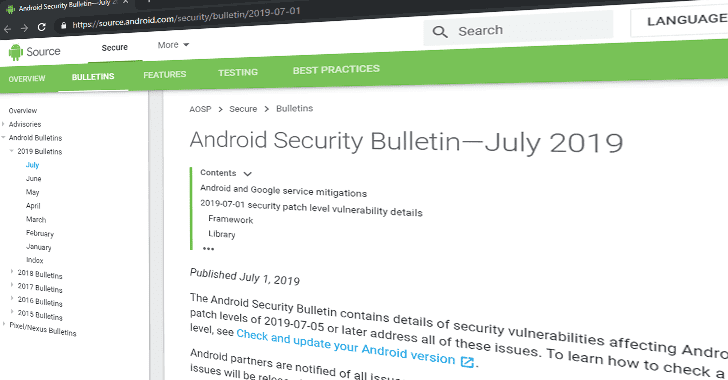 Android July 2019 Security Update Patches 33 New Vulnerabilities 1