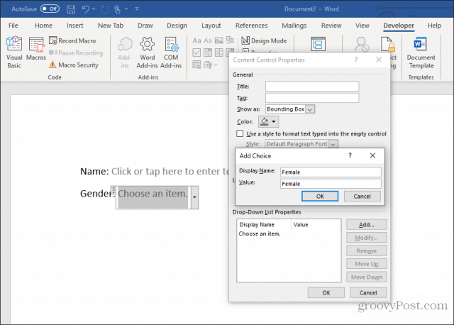 Editing a drop down list in word