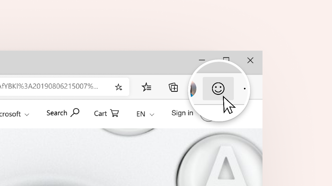 Screenshot highlighting the Send Feedback button in Microsoft Edge