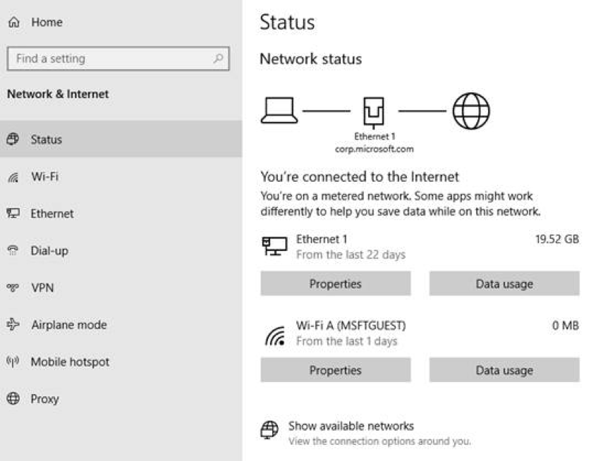Microsoft releases new Windows 10 preview with Network Status 1