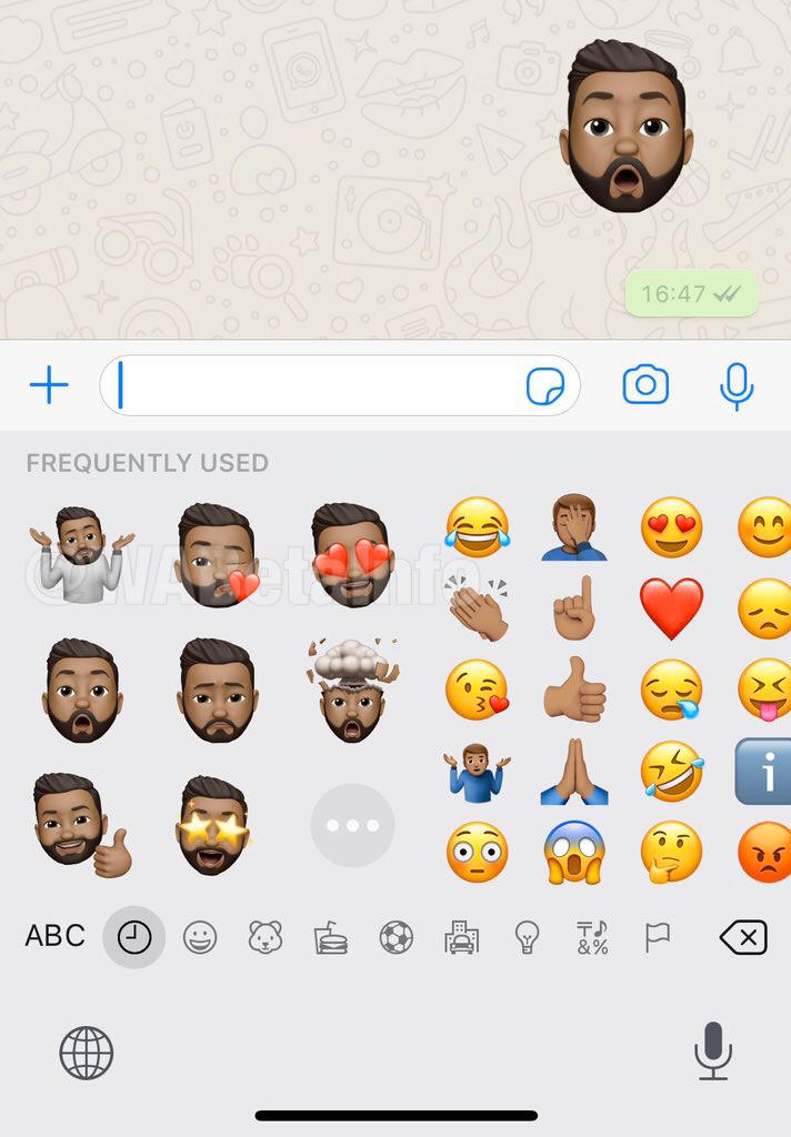 The memoji sticker is expected to roll out in the upcoming WhatsApp update.Image: WABetainfo