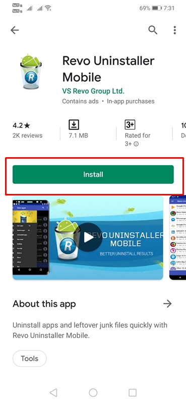Using Revo Uninstaller Mobile