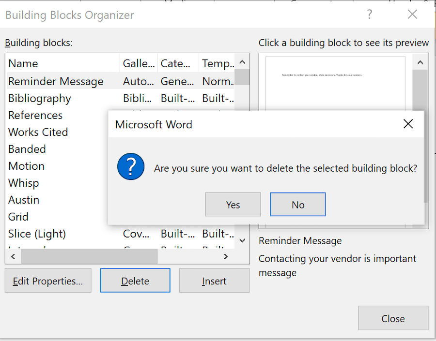 Delete building block