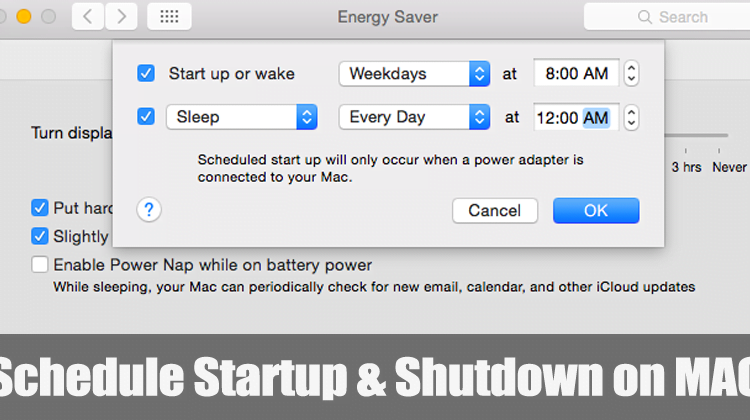 How to Schedule Startup and Shutdown on MAC
