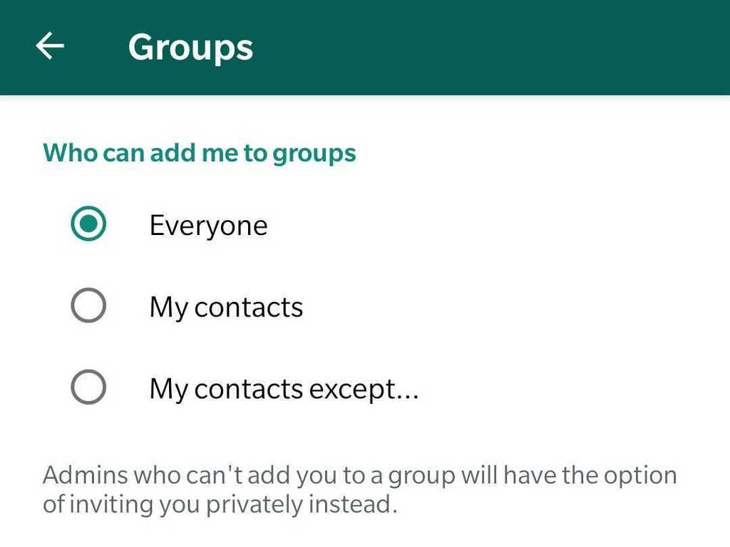 A new WhatsApp update in the group privacy section.