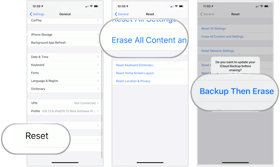 iOS backup then erase