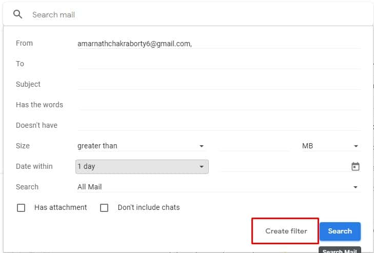 Enter The Email Address and click on'Create Filter'