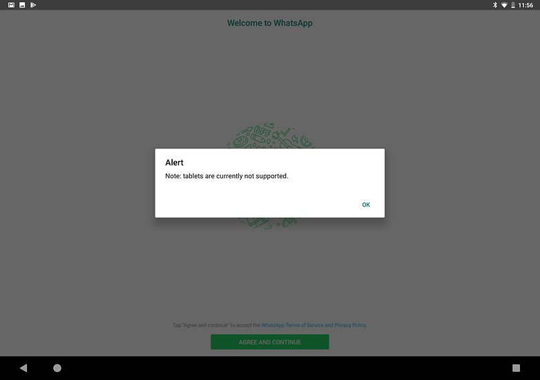 use whatsapp on tablet not supported