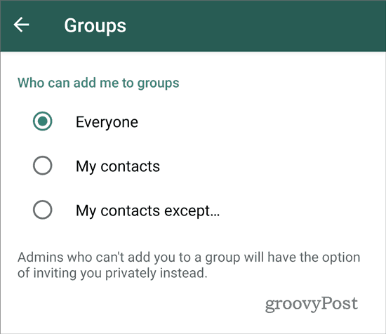 WhatsApp stop adding to groups everyone (2)