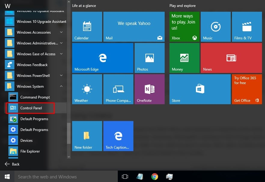 Open Control Panel From Start Menu