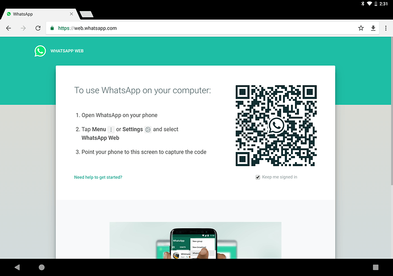 use whatsapp on tablet whatsappweb
