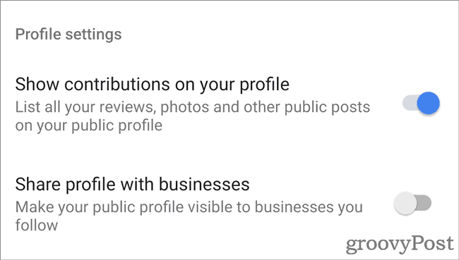 Google Maps Profile options