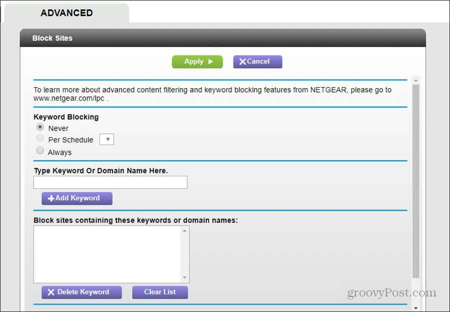 router website blocking