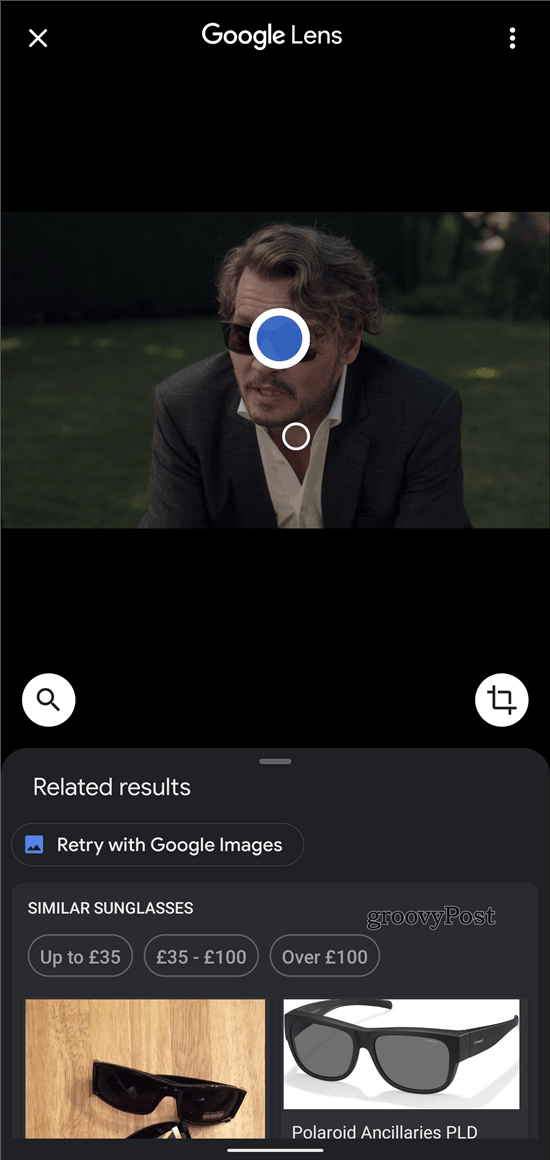 Google Lens Chrome search result