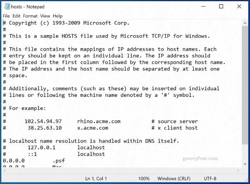The Windows 10 HOSTS file